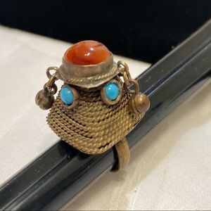 Antique Amber And Turquoise Brass Dome Ring